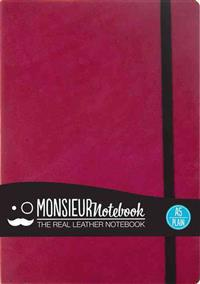 Monsieur Notebook Pink Leather Plain Medium