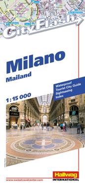 Milano City Flash Hallwag stadskarta : 1:15000