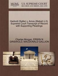 Hadnott (Sallie) V. Amos (Mabel) U.S. Supreme Court Transcript of Record with Supporting Pleadings