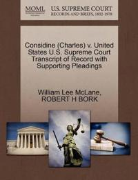 Considine (Charles) V. United States U.S. Supreme Court Transcript of Record with Supporting Pleadings
