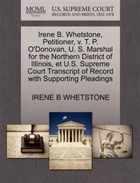 Irene B. Whetstone, Petitioner, V. T. P. O'Donovan, U. S. Marshal for the Northern District of Illinois, Et U.S. Supreme Court Transcript of Record with Supporting Pleadings