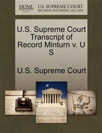 U.S. Supreme Court Transcript of Record Minturn V. U S