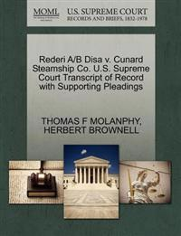 Rederi A/B Disa V. Cunard Steamship Co. U.S. Supreme Court Transcript of Record with Supporting Pleadings