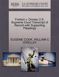 Fortson V. Dorsey U.S. Supreme Court Transcript of Record with Supporting Pleadings