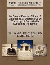 McCrea V. People of State of Michigan U.S. Supreme Court Transcript of Record with Supporting Pleadings