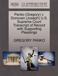 Panko (Gregory) V. Donovan (Joseph) U.S. Supreme Court Transcript of Record with Supporting Pleadings