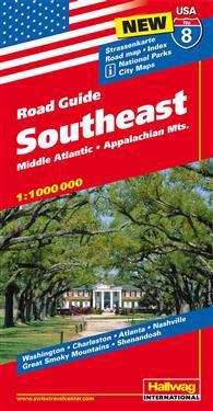 USA Southeast/Sydöstra USA karta nr 8 Hallwag : 1:1milj