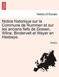 Notice Historique Sur La Commune de Rummen Et Sur Les Anciens Fiefs de Grasen, Wilne, Bindervelt Et Weyer En Hesbaye.