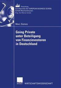Going Private Unter Beteiligung Von Finanzinvestoren in Deutschland