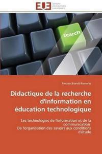 Didactique de la Recherche d'Information En �ducation Technologique
