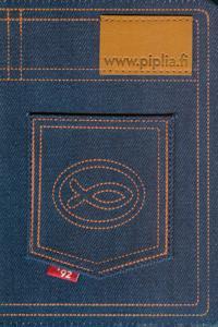 Raamattu (Farkkuraamattu, kangaskannet, tasku, vetoketju)