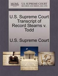 U.S. Supreme Court Transcript of Record Stearns V. Todd