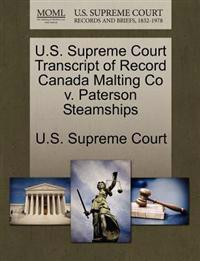 U.S. Supreme Court Transcript of Record Canada Malting Co V. Paterson Steamships