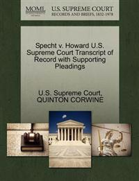 Specht V. Howard U.S. Supreme Court Transcript of Record with Supporting Pleadings
