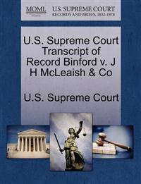 U.S. Supreme Court Transcript of Record Binford V. J H McLeaish & Co